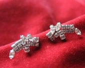 JAY FLEX STERLING Rhinestone Earrings / Clip on / Screw Back Earrings by Designer