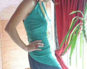 Teal GREEN STRIPED Top Blouse SCARF Top by Newport / Dress / Tunic / Blouse