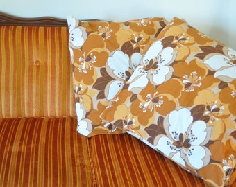 VINTAGE PILLOW SALE...1970's Floral Cushions Covers Set of Brown and Orange Flower Pillow Cushions Size Large / Over Sized