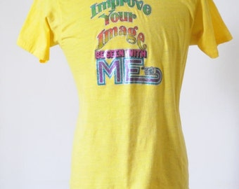 SALE 70's SOFT VINTAGE T shirt Tee Sunshine Yellow Super Soft Vintage T Shirt Size Large by Screen Stars