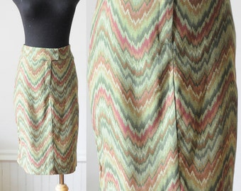 70's Green Zigzag Skirt Vintage Size Small
