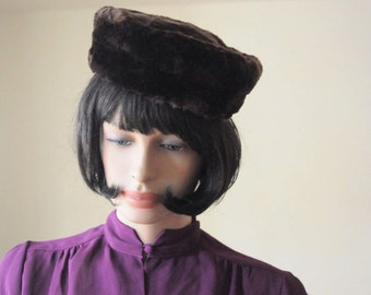 SALE...1940's MINK FUR Hat Dark Chocolate Brown