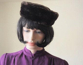 SALE...1940's MINK FUR Hat Dark Chocolate Brown