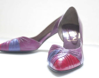 LEATHER PUMPS 80's Vintage High Heels in Purple and Pink