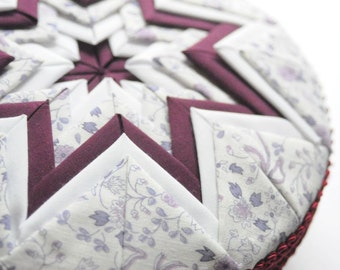 SALE QUILTED STARBURST in In Maroon and Lilac Box Treasure Keepsake Gift for Her