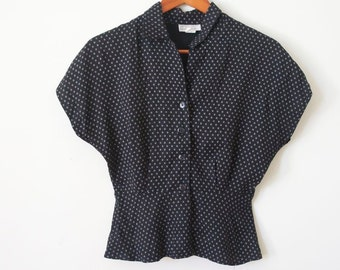 BLACK 40's STYLE BLOUSE in Black and White Checkered / Polka Dot Bat Wing / Angel Wing Top For Spring 2013