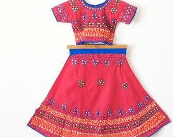 SALE GIRLS DRESS Embroidered Red Tunic / Ethnic Skirt and Top Two Piece Dress