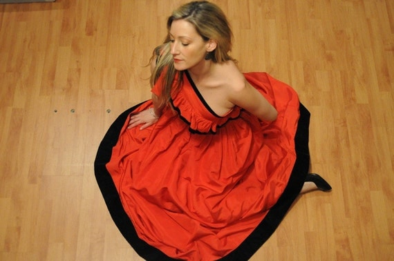 VALENTINES DRESS Red Off The Shoulder Vintage Gown  by Albert Capraro Red Carpet Cocktail Hollywood Rengency
