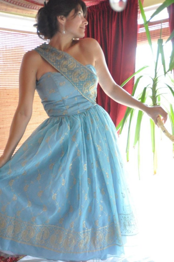 Vintage Baby Blue and Gold Strapless Off the Shoulder HOLLYWOOD GLAMOUR Gown / Dress
