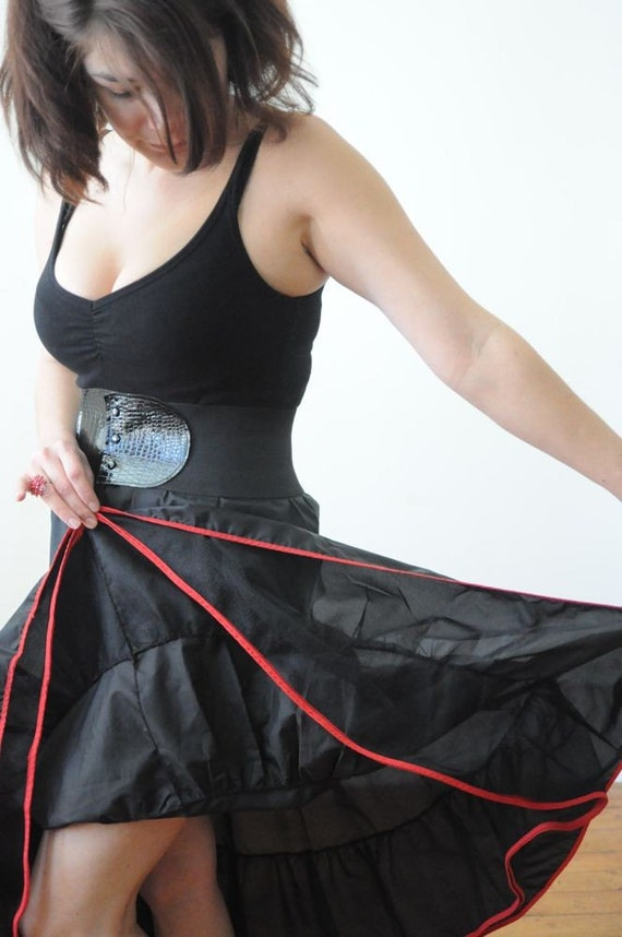 50's ROCKABILLY RED & BLACK  Tiered Crinoline Half Slip Lingerie