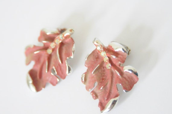 1950's Coral / Pink  Clip On Leaf Earrings with Rhinestones and Silver Tone Detail for FALL 2012