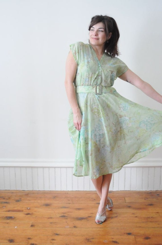 SALE...1970's Green Forest  Sheer FALL Dress with Blue Rose Flower Print and Matching Belt Size Large