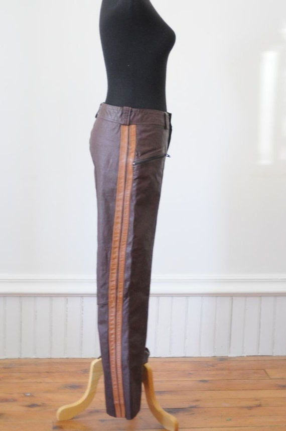 1970's MOTORCYCLE LEATHER BELLBOTTOMS  Pants with Flares and Stripes SIze Small