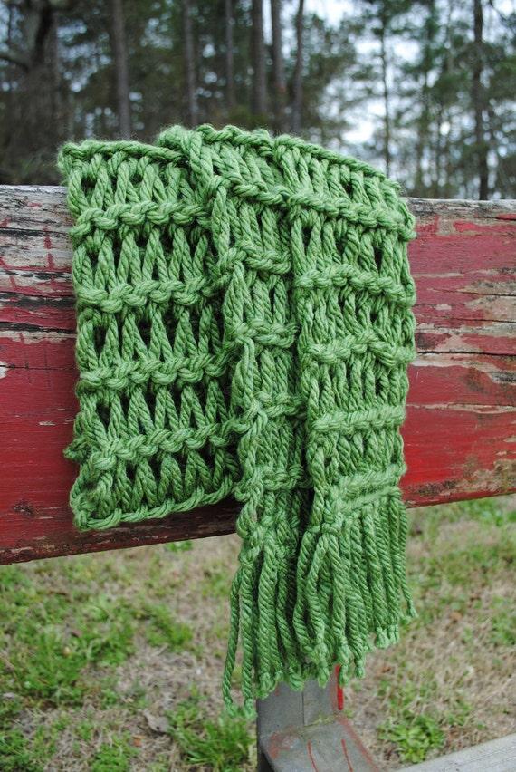 Long Chunky Knit Green Scarf