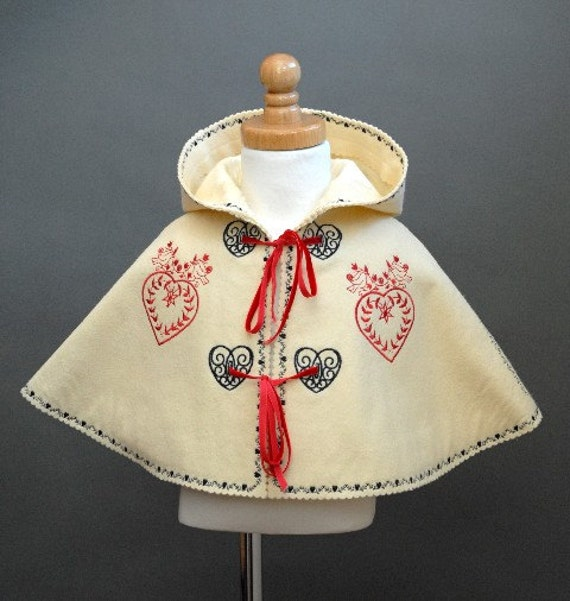 Wool Felt Child's Cape with Red and Black Hearts Embroidery