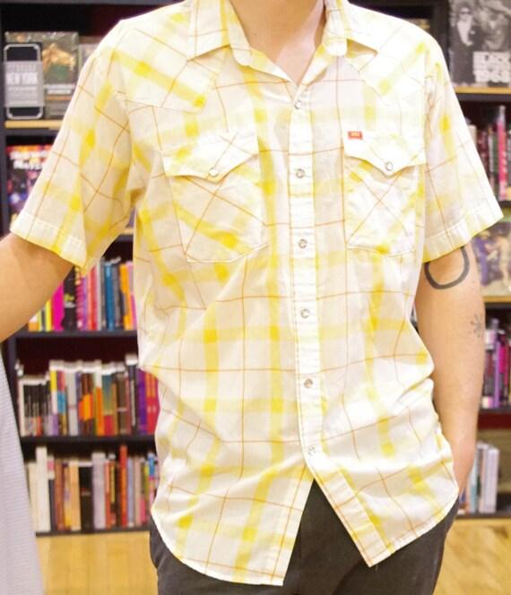 Short Sleeved Mens Western Snap Shirt Ely Plains Yellow Orange White