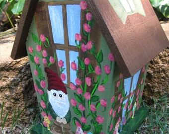 Fairy Garden Gnome, Hand Painted Birdhouse