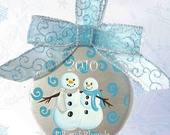 Couple's Hand Painted Personalized Ceramic Ornament