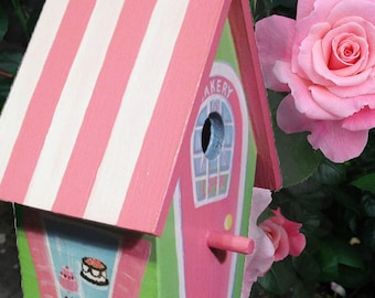 Hand Painted Birdhouse - Whimsical Bakery