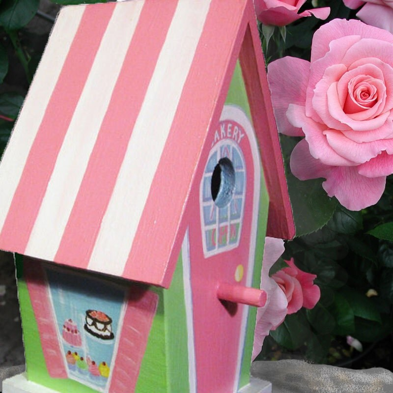 Hand Painted Birdhouse Whimsical Bakery by PaintBrushedBoutique