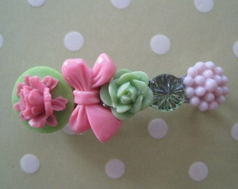 Pink and Green Hair Barrette