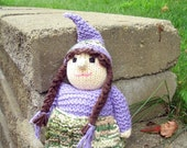 Handknit Girl Gnome in Purple with Earth Tones