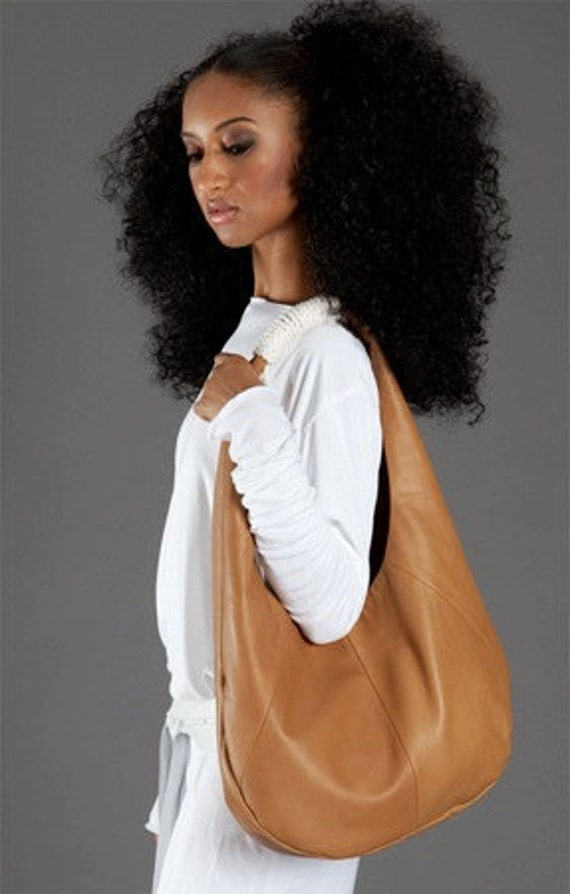 buttery camel lambskin bag with rope handle