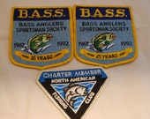 b.a.s.s. angler society 1992 patches, fishing club, lot of 3 patches