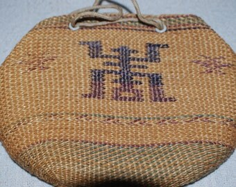 vintage 60s, straw purse, shoulder bag, made China, hippie,