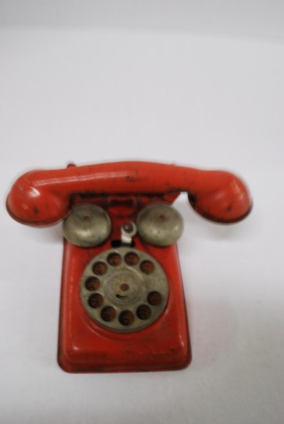 darling 50s mid century metal dial rotary phone telephone toy