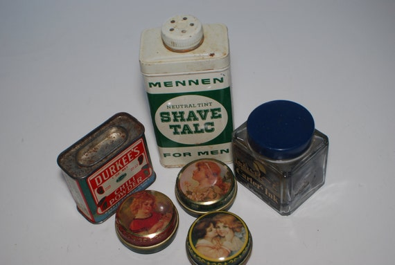 vintage advertising, tins, pill boxes, mennen talc, durkee chili, carters fountain pen ink,