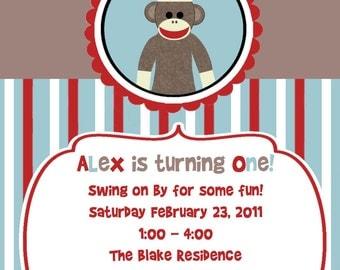 Sock Monkey Custom Printable Birthday Shower Invitation