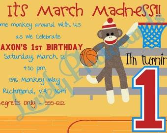 Sock Monkey Basketball Monkey Madness Custom Printable Birthday Invitation