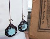 Caged Skies.... vintage charm earrings....