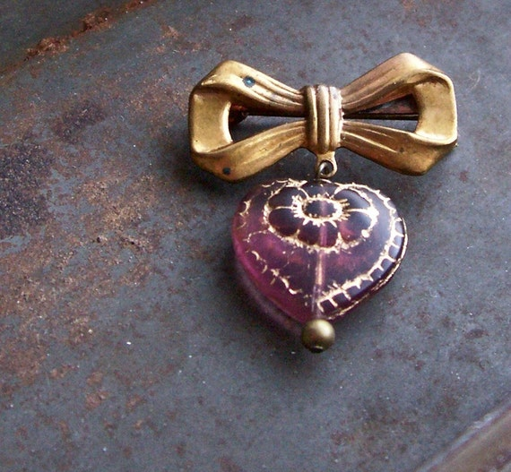 50% OFF CLEARANCE SALE... Wine Dahlia.... vintage bow and heart brooch....