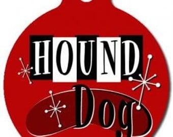 Retro Hound Dog ID Tag - Custom, Metal, Fully Personlized - Higher Quality