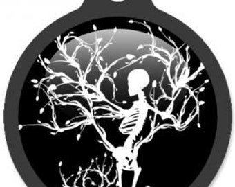 Gothic Winter Skeleton Dog ID Tag - Custom, Metal, Fully Personlized - Higher Quality