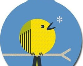 Little Yellow Bird Tag - Custom, Metal, Fully Personlized - Higher Quality