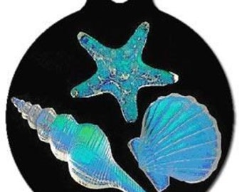 Seashells Dog ID Tag - Custom, Metal, Fully Personlized - Higher Quality