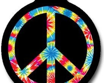 Tie Dye Peace Symbol Pet ID Tag - Custom, Metal, Fully Personlized - Higher Quality