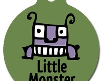 Little Monster Pet ID Tag - Custom, Metal, Fully Personlized - Higher Quality