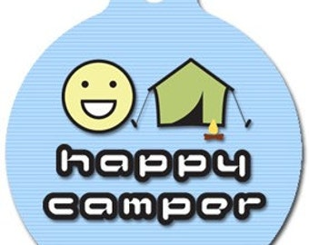Happy Camper Pet ID Tag - Custom, Metal, Fully Personlized - Higher Quality