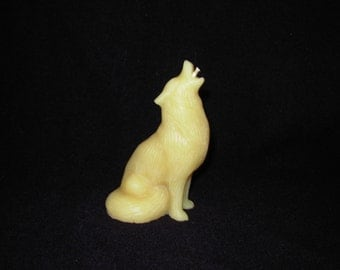Pure Beeswax Candle Votive Wolf
