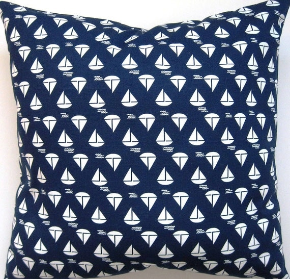 Blue and White Pillow Cover - Nautical Sailboat Pillow Cover - Decorative Pillow Cover - 18 Inch Square--Reversible