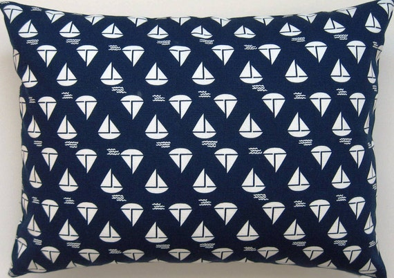 Blue and White Pillow Cover - Nautical Pillow - Sailboat Pillow Cover -  Beach Pillow