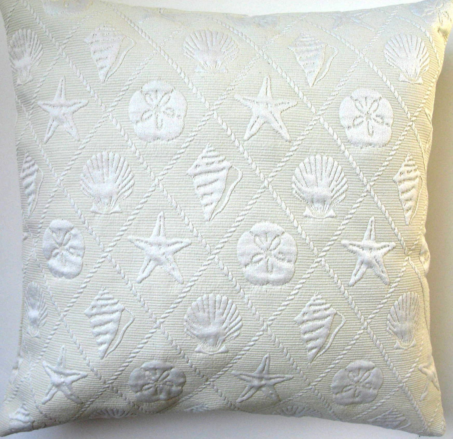 Seashell Pillow Cover Decorative Pillow Cover Ivory Sea