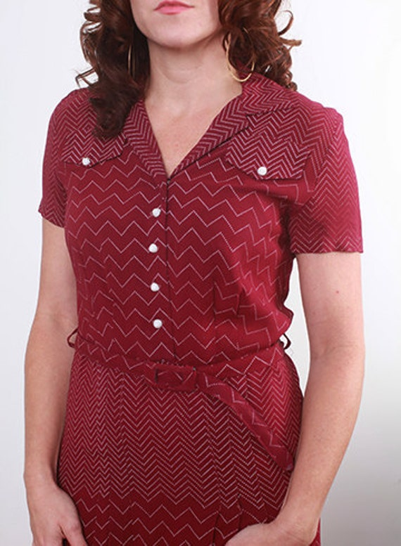 1930's/40's Crepe Zig Zag Geometric Button and Pleated Front Burgundy Dress