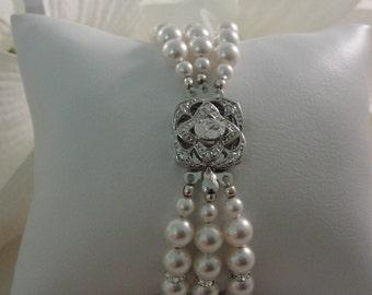 Triple Pearl Elegance - Swarovski Pearls and Crystal - Rhinestone Clasped Bridal Bracelet