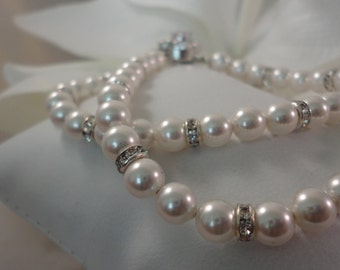 Double Pearl Elegance - Swarovski Pearl, Crystal and CZ  Bridal Bracelet