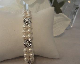 Victorian Double Pearl Slide White Swarovski Pearl and Crystal slider bridal bracelet